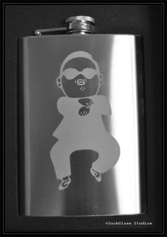 Gangnam Style PSY Etched Stainless Steel Hip Flask by Jackglass on Etsy.
