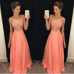 Cheap prom dresses, Buy Quality prom dresses plus directly from China long prom dresses Suppliers: Robe De Soiree 2016 A-Line V Neck Peach Color Chiffon Floor Length Plus Size Long Prom Dress Evening Dresses With Beads V Neck Prom Dresses, Cheap Prom Dresses, Formal Evening Dresses, Dress Prom, Dress Long, Prom Gowns, Dress Formal, Chiffon Dress, Bridesmaid Dresses
