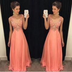 Largo Vestido de Fiesta Robe De Soirée 2016 Una Línea de Cuello En V Color melocotón de La Gasa Longitud del Piso Más El Tamaño de Vestidos de Noche Con cuentas