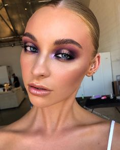 M E R T O N M U A R E M I on Saturday night fever with this beauty leah_crampton those inner corner purple highlights are I cant get enough of painting this Glam Makeup, Cute Makeup, Skin Makeup, Makeup Art, Clown Makeup, 80s Makeup, Candy Makeup, Halloween Makeup, Makeup Trends