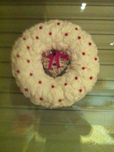 Valentijn, krans van wattenschijfjes