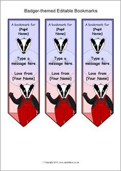 Badger-themed editable bookmarks (SB9783) - SparkleBox