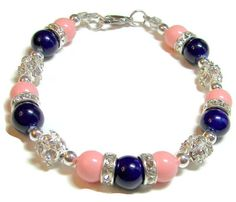 Pink Coral and Sapphire Blue Beaded and by SeagullSmithJewelry