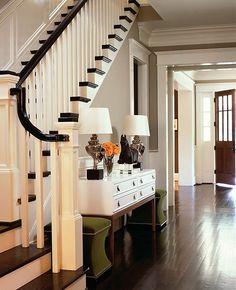 black trim, white casings, dark hand scarped floors...I am in LOVE!