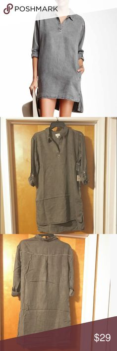 Shirt dress, grey denim Lightweight grey denim shirt dress, shorter in front then back, fabric is tencel, got at Nordstrom Nordstrom Dresses
