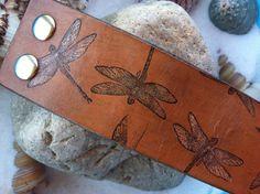 Leather Bracelet / Jewelry / Dragonflies Iridescent Ladies rustic  leather dragonfly bracelet