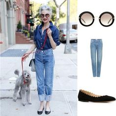 Linda Rodin in New York CityLinda Rodin rarely strays from her signature look: red lips, pulled-back. - Ari Seth Cohen All of these looks are fabulous! Trend Fashion, Fashion Over 50, Womens Fashion, Denim Fashion, Fashion Clothes, Fashion Fashion, Fashion Ideas, Fashion Tips, Looks Style