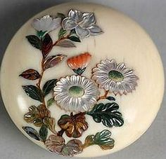 Shibayama Netsuke of Assorted Flowers. 19th Century. Japan Ivory.
