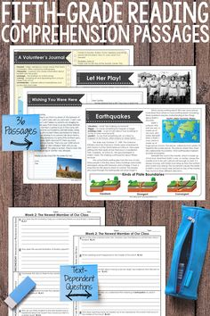Fifth-grade fiction and nonfiction reading passages for the entire year. Each passage comes with text-dependent questions that are editable. Perfect for homework, guided reading, or test prep. Reading Tutoring, Reading Intervention, Teaching Reading, Guided Reading, Reading Lessons, Close Reading, Teaching 5th Grade, 5th Grade Reading, Reading Comprehension Passages