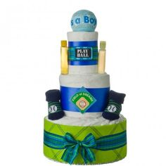 Welcome the new baby boy home with this 3 tier baseball themed diaper cake featuring a It's a Boy commemorative baseball. Lil Baby, New Baby Boys, Baby Kids, Diaper Cake Boy, Diaper Cakes, Party Themes, Themed Parties, Boys Playing, Baby Cakes