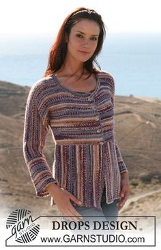"""107-3 jacket, knitted in different directions in garter st in """"Fabel"""" by DROPS design"""