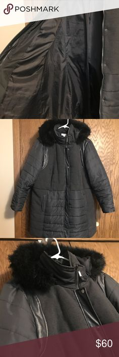 Susan Graver Quilted Puffer Jacket This is a warm winter jacket with removable faux fur lined hood. The hood removes easy with a zipper. There is faux leather detail on the jacket, feels like a puffer jacket. Nice and warm. Used for one season in Minnesota. Susan Graver Jackets & Coats Puffers