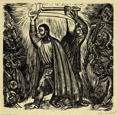 """Leopoldo Méndez's 1936 """"Fight against Fascism,"""" wood engraving in black on tan wove paper.   The Art Institute of Chicago"""