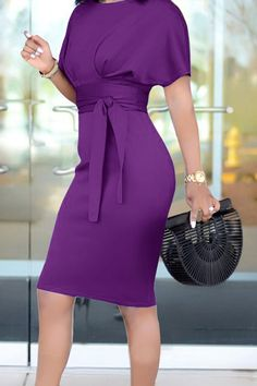 Bandage Solid Color Short Sleeve Dress WHATWEARS is part of pencil-drawings - pencil-drawings Trendy Dresses, Elegant Dresses, Dresses For Work, Mode Chic, Mode Style, Dress Outfits, Fashion Outfits, Womens Fashion, Maxi Dresses
