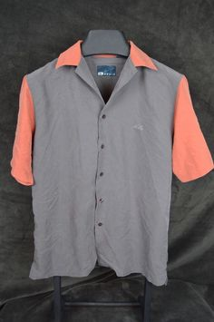 Hobie mens small gray orange camp bowling shirt rayon blend short sleeve #Hobie #ButtonFront