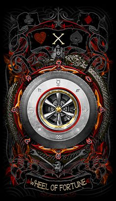 The Wheel of Fortune-Major arcana card https://www.kickstarter.com/projects/1049685103/the-psychobilly-tarot #kickstarter #tarot