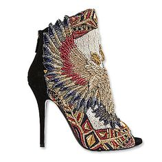 Balmain's gold-spangled peep-toes full of red white and blue embroidery