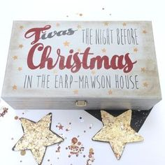 Are you interested in our Christmas Eve Box Personalised? With our Personalised Christmas Eve Box you need look no further. Babies First Christmas, Family Christmas, Christmas Time, Christmas Crafts, Christmas Decorations, Christmas Ideas, Christmas 2016, Wooden Keepsake Box, Keepsake Boxes