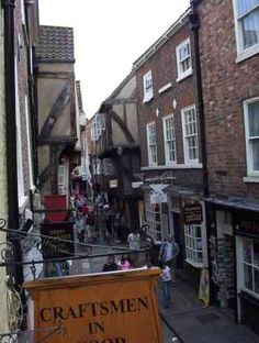 The Shambles in the walled city of York in the UK. Fun Trip with Kathy, 1998.