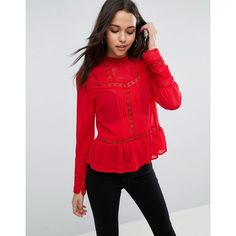 ASOS High Neck Blouse With Lace Inserts featuring polyvore women's fashion clothing tops blouses red pleated top mesh blouse button blouse red top high neckline tops