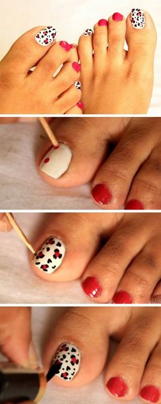 Black, White n Red Design   18 DIY Toe Nail Designs for Summer Beach   Easy Toenail Art Designs for Beginners