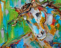Cow painting original oil 6x6 palette knife by Karensfineart