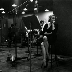 Marlene Dietrich at the recording studio, New York City 1952 by Eve Arnold