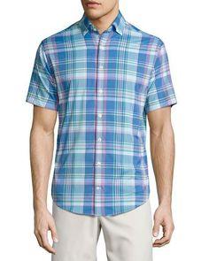 Colt Performance Plaid Short-Sleeve Shirt, Blue