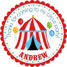 6aaabae23 Big Top Circus Tent Personalized Stickers - Party Favor Labels, Address  Labels, Birthday Stickers