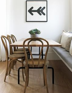 "A table doesn't need to be surrounded by chairs on all sides. Save space by adding a bench. ""We have done a..."