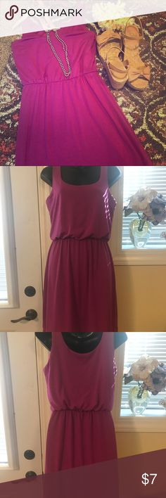 "Maurice's Magenta Mid Length Dress Gently used Maurice's magenta cotton mid length dress. Size M. Length from the armpits is 31"". Elastic all the way around under the chest. From pet free/smoke free home!!! Please let me know if you have any questions! 💜💜💜 Maurices Dresses Midi"