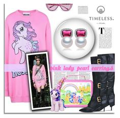 """""""Pink Lady Pearl Earrings"""" by timelesspearl ❤ liked on Polyvore featuring Moschino"""