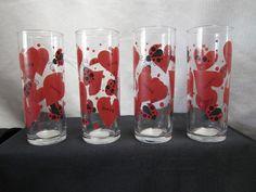 Lady Bug Glasses 4 Anchor Hocking Love Bug Cocktail Higball Heart Glass Bud Vase #AnchorHocking
