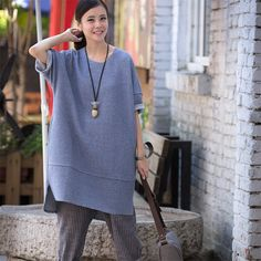 Gray Simply Casual Dress Women Clothes Q6138A