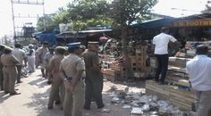 Encroachments cleared at Nanjappa Road.