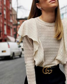 Blouse: ruffled top tumblr white top white top ruffle belt gucci gucci belt logo belt long sleeves