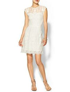 "Dolce Vita Kloey Silk Dress - Sweetheart bustline with sheer lace up top may even hide the ""armpit fat""..."