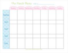 weekly menu planner free printable