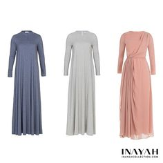 - Modest Abayas & Maxi Dresses: What's your favourite design? 1, 2 or 3? Comment below!  Light Denim High Neck Abaya Grey Flare Abaya Dusty Pink Georgette Draped Dress  www.inayahcollection.com