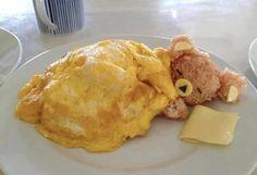 Bamse med dyne - af omelet, ris og ost.
