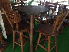 bahçe sandalyesi , bahçe mobilyası ,  sandalye modelleri , ahşap mobilyalar %100 el işçiliğidir.Bıstro rustık set teak ağacının gövde kısmından üretilmiştir.Set 1 bıstro 4 sandalyeden oluşmakatadır.Ürün üzerinde yat verniği uygulanmıştır,iç ve dış mekanda tercih edilebilir.