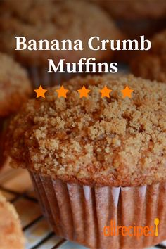 A basic banana muffin is made extraordinary with a brown sugar crumb topping that will melt in your mouth. Muffin Recipes, Breakfast Recipes, Banana Crumb Muffins, Good Food, Yummy Food, Baking Muffins, Star Food, Dessert Cups, Allrecipes