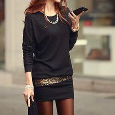 mini vestito nero / bianco, manica a pipistrello disegno di paillettes delle donne – EUR € 6.85