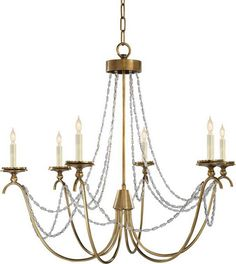 Visual Comfort CHC 1415AB-SG E. F. Chapman Casual Marigot Medium Chandelier in Antique-Burnished Brass with Seeded Glass Trim | FoundryLighting.com