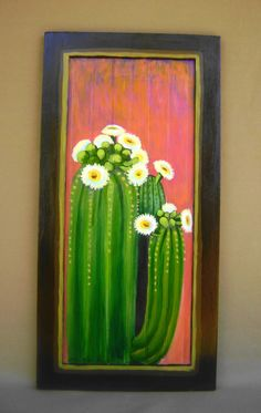 Saguaro on a Wood Panel acrylic painting, Up cycled cabinet, southwest cactus painting, flowering saguaro against a sunset, wall hanging by RobinChladDesigns on Etsy Cactus Wall Art, Cactus Painting, Acrylic Painting Flowers, Painting On Wood, Cactus Cactus, Painting Walls, Cactus Decor, Desert Art, Desert Sunset