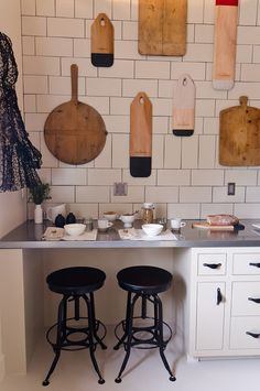 functional wall art... here, bread boards hung in a kitchen,... could be guitars on a wall, cutting boards, surf boards, baseball hats, garden tools...