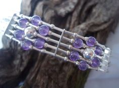 Amethyst & sterling silver Flower bracelet by andreadawn1 on Etsy