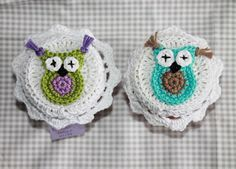 2 Marmeladenglashäubchen crochet Eule owl bunt Sommer süß von Nostalgie Gretel häkelt und schenkt auf DaWanda.com
