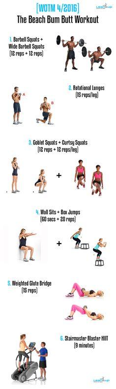 Your brand new summer BUTT workout > [WOTM 04/2016] The Beach Bum Butt Workout.  #fitness #workout #butt #fitfam