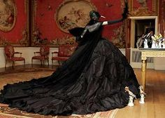 Wedding Lady: Maria Luisa Black Silk Taffeta Gown Rococo Lolita Wedding Gown Couture